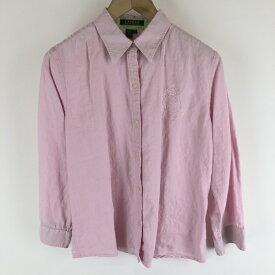 【古着】 RALPH LAUREN ラルフローレン 無地シャツ リネン素材 ワンポイント刺繍 7分袖 ピンク系 レディースL n006735