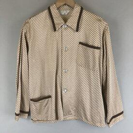 【古着】 パジャマシャツ 裏起毛 総柄 長袖 ベージュ系 メンズS 【中古】 n007004