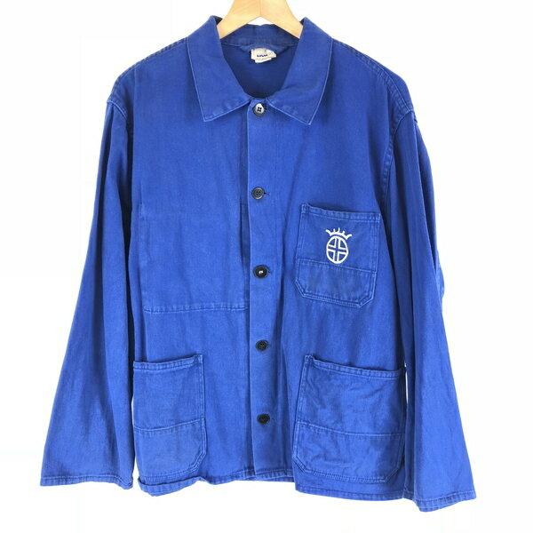 【古着】 ユーロワークジャケット ワンポイント刺繍 ブルー系 メンズL 【中古】 n007328