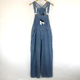 【古着】 DISNEY オーバーオール デニム素材 ミッキーマウス 刺繍 ブルー系 レディースW30 【中古】 n008396