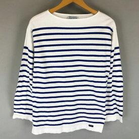 【古着】 Le minor ルミノア ボーダーTシャツ made in FRANCE ヴィンテージ 長袖 ホワイト系 メンズXS 【中古】 n008811