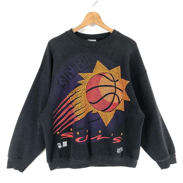 【古着】 NBA プリントスウェット PHOENIX SUNS ビッグプリント バスケ ブラック系 メンズXL 【中古】 n010399