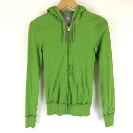 NIKE ナイキ ジップアップパーカー Tシャツ素材 ワンポイント刺繍 グリーン系 レディースXS n010851