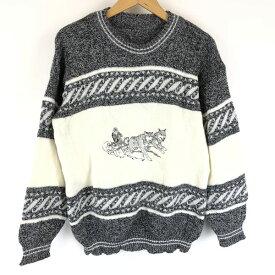 【古着】 エンブロイドセーター シベリアンハスキー 犬ぞり 切替えデザイン 刺繍 グレー系 メンズM n011098