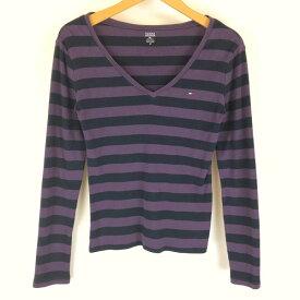 トミー・ヒルフィガー ボーダーTシャツ Vネック ワンポイント刺繍 長袖 パープル系 レディースS n011130