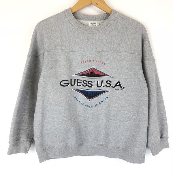 【古着】 Guess ゲス ロゴプリントスウェット made in USA グレー系 レディースL 【中古】 n011494
