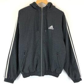 【古着】 adidas アディダス 中綿ジャケット パーカータイプ 袖ライン ワンポイント刺繍 ブラック系 メンズM n011879