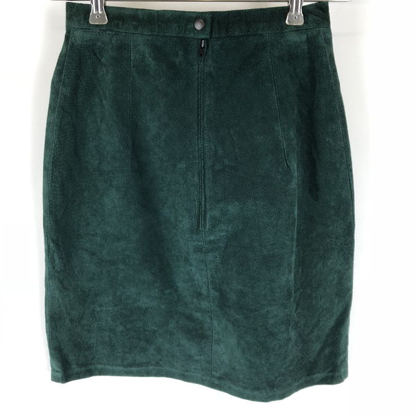 【古着】 PHOENIX スエードスカート made in USA ミニ丈 タイト 裏地付き 無地 グリーン系 レディースW24 n012677