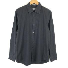 【古着】 Calvin Klein カルバンクライン ストライプシャツ ドレスシャツ 長袖 ブラック系 メンズM 【中古】 n013267