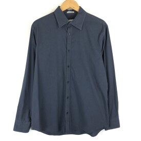 【古着】 Calvin Klein カルバンクライン ストライプシャツ ドレスシャツ 長袖 グレー系 メンズM 【中古】 n013268