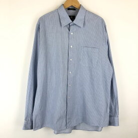 【古着】 Calvin Klein カルバンクライン ストライプシャツ ドレスシャツ 長袖 ブルー系 メンズXL 【中古】 n013270