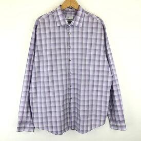 【古着】 Calvin Klein カルバンクライン チェックシャツ ドレスシャツ regular-fit 長袖 パープル系 メンズXL n013272