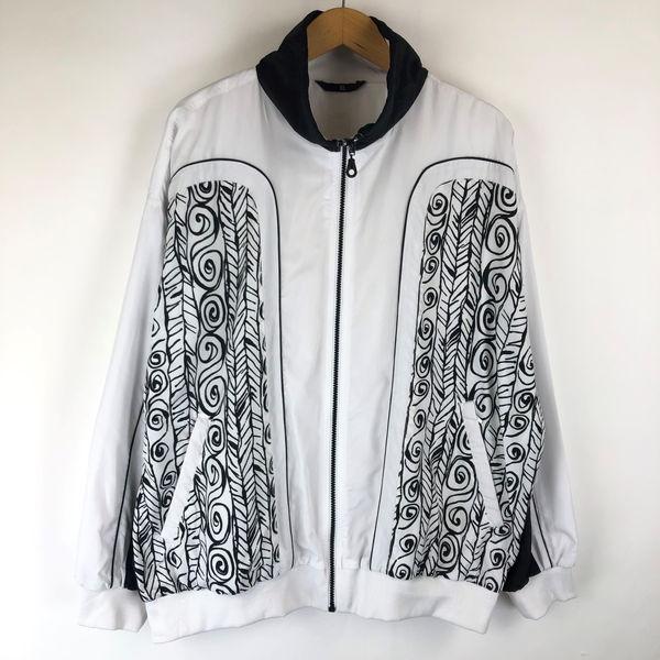【古着】 RODEO ナイロンジャケット 切り替えデザイン 手書き風総柄 裏地あり ホワイト系 メンズXL 【中古】 n013615