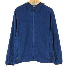 【古着】 コロンビア フリースジャケット フード付き インナー系薄手素材 無地 ブルー系 メンズM n013719