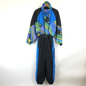 RODEO(C&A) ジャンプスーツ スキー 中綿入り 星 ストライプ柄 切り替え ウエストゴム ブラック系 レディースS