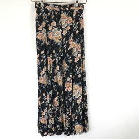 【古着】 new york style 花柄スカート made in USA ボタンダウン ウエストゴム ブラック系 レディースM n014690