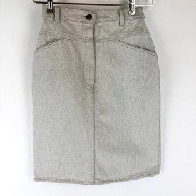 ECCO デニムスカート made in BELGIUM カラーデニム タイトスカート ホワイト系 レディースW24 n014818