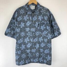 Columbia コロンビア 総柄シャツ リップストップ 葉っぱ リーフ柄 半袖 ブルー系 メンズL n015034