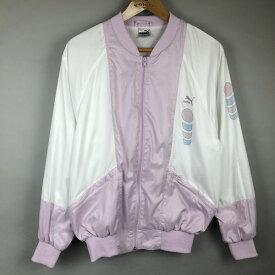 プーマ ナイロンジャケット 刺繍ロゴ プリント 切り替えデザイン 80-90年代 ヴィンテージ ピンク系 メンズL n015412