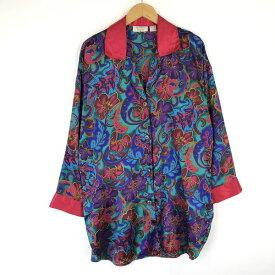 【古着】 VICTORIA'S SECRET パジャマシャツ 花柄 サテン素材 長袖 グリーン系 レディースL 【中古】 n015658