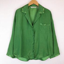 【古着】 VICTORIA'S SECRET パジャマシャツ オープンカラー 無地 長袖 グリーン系 レディースM 【中古】 n016202