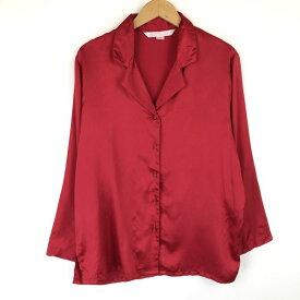 【古着】 VICTORIA'S SECRET パジャマシャツ オープンカラー 無地 長袖 レッド系 レディースS 【中古】 016203
