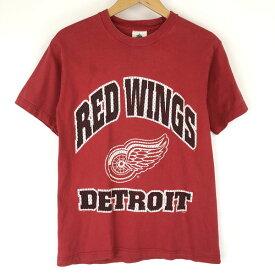 【古着】 Tour champ ロゴプリントTシャツ NHL ホッケー DETROIT REDWINGS 80年代 レッド系 メンズM n016769