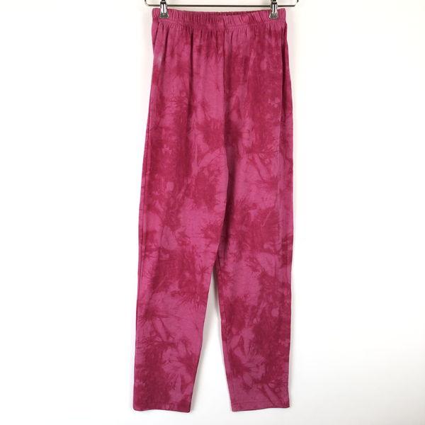 【古着】 イージーパンツタイダイムラ染めカット素材 ピンク系 レディースM 【中古】 n016815