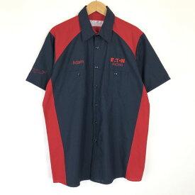 【古着】 RED KAP レッドキャップ ワークシャツ EATON RACING 切り替え 半袖 ネイビー系 メンズL n017035