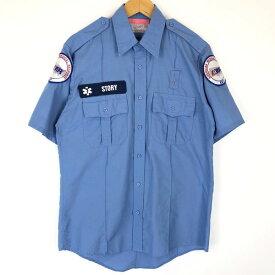 【古着】 RED KAP レッドキャップ ワークシャツ AMR 救急 半袖 ブルー系 メンズM 【中古】 n017039