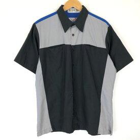 【古着】 RED KAP レッドキャップ ワークシャツ Volks Wargen フォルクスワーゲン 半袖 ブラック系 メンズL