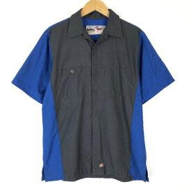 【古着】 RED KAP レッドキャップ ワークシャツ 切り替え リップストップ 半袖 グレー系 メンズM