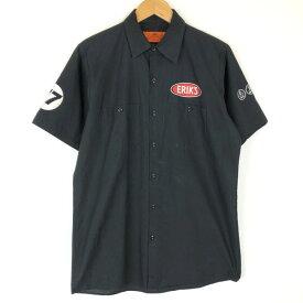 【古着】 RED KAP レッドキャップ ワークシャツ プリント SHOP ERIK'S 半袖 ブラック系 メンズM