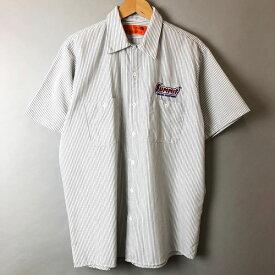 【古着】 RED KAP レッドキャップ ワークシャツ ワッペン ストライプ柄 半袖 ホワイト系 メンズL n017056