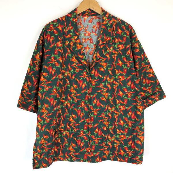 【古着】 総柄ジャケットとうがらし総柄 ヴィンテージ 半端袖 グリーン系 メンズL 【中古】 n017300