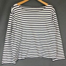 【古着】 マリンボーダーTシャツ 薄手生地 ボーダー柄 長袖 ホワイト系 レディースXL以上 【中古】 n018043