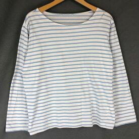 【古着】 マリンボーダーTシャツ 薄手生地 ボーダー柄 長袖 ブルー系 レディースXL以上 【中古】 n018044