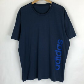 【古着】 adidas アディダス ロゴプリントTシャツ CLIMA-LITE ネイビー系 メンズXL以上 【中古】 n018331