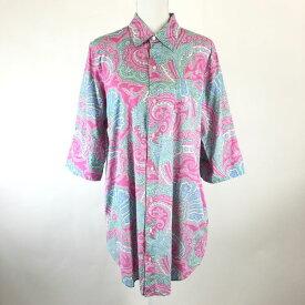 RALPH LAUREN ラルフローレン シャツワンピース ペイズリー柄 刺繍 半端袖 ピンク系 レディースL n018612