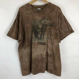 Harlequin アニマルプリントTシャツ made in the E.U. ムラ染Tシャツ 動物 サイ 両面プリント ブラウン系 メンズXL n018974