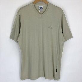 【古着】 adidas アディダス ワンポイントTシャツ 刺繍 ベージュ系 メンズL 【中古】 n019038