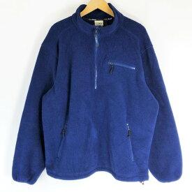 L.L.Bean エルエルビーン フリースジャケット made in USA ハーフジップ 80年代 ヴィンテージ ネイビー系 メンズL n019094