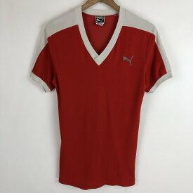 PUMA プーマ スポーツTシャツ 切り替え フロッキープリント 目口付きタグ 60年代 レッド系 レディースS n020077