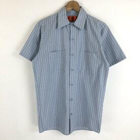 【古着】 REDCAP レッドキャップ ワークシャツ ストライプシャツ 半袖 ブルー系 メンズS n020384