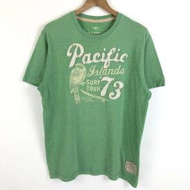 【古着】 OLD NAVY オールドネイビー プリントTシャツ ダメージ加工 グリーン系 メンズM 【中古】 n020604