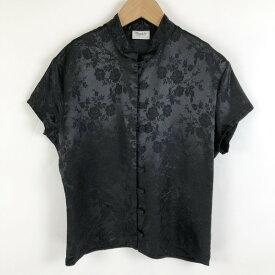 【古着】 pimkie チャイナシャツ ジャガード 花柄 ヴィンテージ 半袖 ブラック系 レディースM 【中古】 n020714
