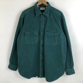 L.L.Bean エルエルビーン ヘビーフランネルシャツ made in USA 無地 80年代 ヴィンテージ グリーン系 メンズL n021019