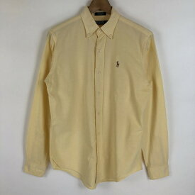 RALPH LAUREN ラルフローレン 無地シャツ made in USA ボタンダウン 90年代 イエロー系 レディースL n021144