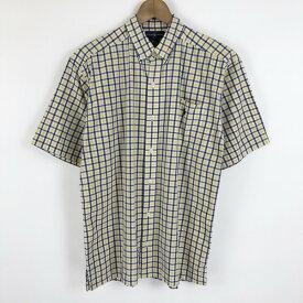 【古着】 RALPH LAUREN ラルフローレン チェックシャツ ボタンダウン 半袖 イエロー系 レディースL 【中古】 n021164