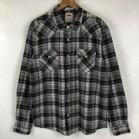 Levi's リーバイス ライトフランネルシャツ ウエスタンシャツ チェック柄 グレー系 メンズL n022103